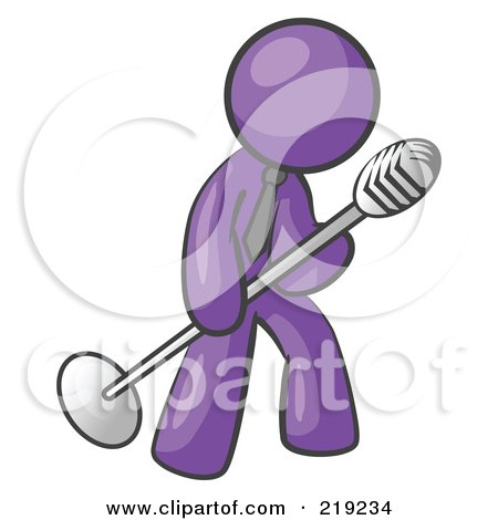 Clipart Illustration of a Purple Man In A Tie, Singing Songs On Stage During A Concert Or At A Karaoke Bar While Tipping The Microphone by Leo Blanchette