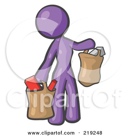 Royalty-Free (RF) Clipart Illustration of a Purple Woman Carrying Paper Grocery Bags by Leo Blanchette