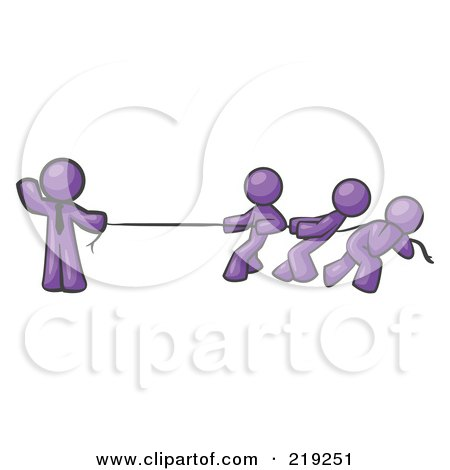 Royalty-Free (RF) Clipart Illustration of a Strong Purple Man Holding One End of Rope While Three Others Pull on the Other Side During Tug of War by Leo Blanchette