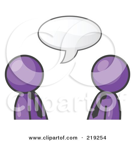 Clipart Illustration of Two Purple Businessmen Having a Conversation With a Text Bubble Above Them by Leo Blanchette