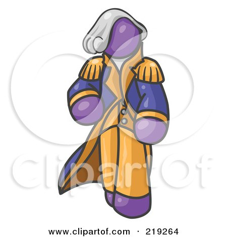 Clipart Illustration of a Purple George Washington Character by Leo Blanchette