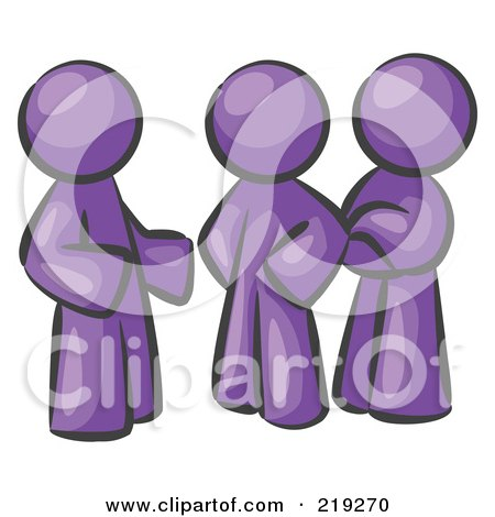 Clipart Illustration of a Group Of Three Purple Men Talking At The Office by Leo Blanchette