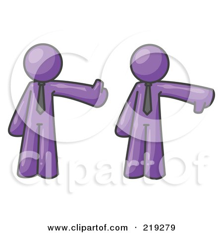 Clipart Illustration of a Purple Business Man Giving the Thumbs Up Then the Thumbs Down  by Leo Blanchette