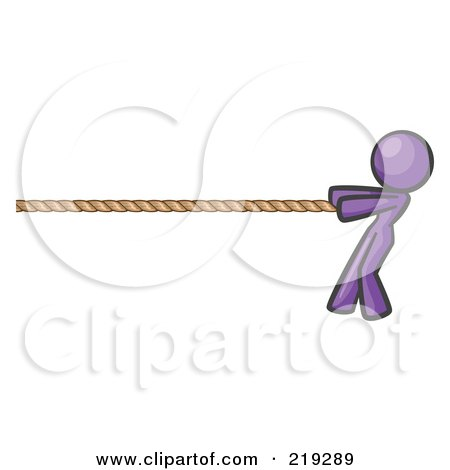 Royalty-Free (RF) Clipart Illustration of a Purple Design Mascot Woman Tugging On A Rope by Leo Blanchette