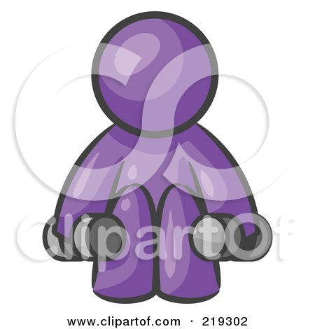 Clipart Illustration of a Purple Man Lifting Dumbbells While Strength Training by Leo Blanchette