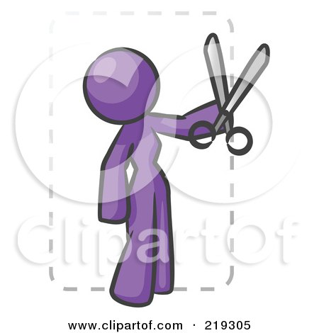 Clipart Illustration of a Purple Lady Character Snipping Out A Coupon With A Pair Of Scissors Before Going Shopping by Leo Blanchette