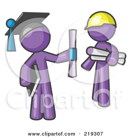 Royalty-Free (RF) Clipart Illustration of a Purple Man Graduate And Purple Man Contractor by Leo Blanchette
