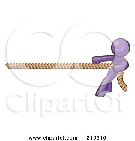 Royalty-Free (RF) Clipart Illustration of a Purple Design Mascot Man Tugging On A Rope by Leo Blanchette