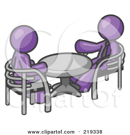 Royalty-Free (RF) Clipart Illustration of Two Purple Business Men Sitting Across From Eachother at a Table During a Meeting by Leo Blanchette