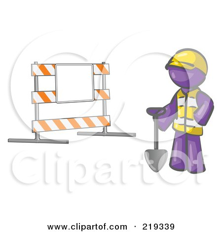 Clipart Illustration of a Purple Man Construction Worker In A Yellow Vest And Hardhat, Holding A Shovel And Standing By A Road Block Sign by Leo Blanchette