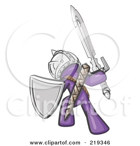 Royalty-Free (RF) Clipart Illustration of a Purple Design Mascot Man Ultimate Warrior With A Sword And Shield by Leo Blanchette