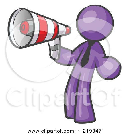 Royalty-Free (RF) Clipart Illustration of a Purple Design Mascot Man Announcing With A Megaphone by Leo Blanchette