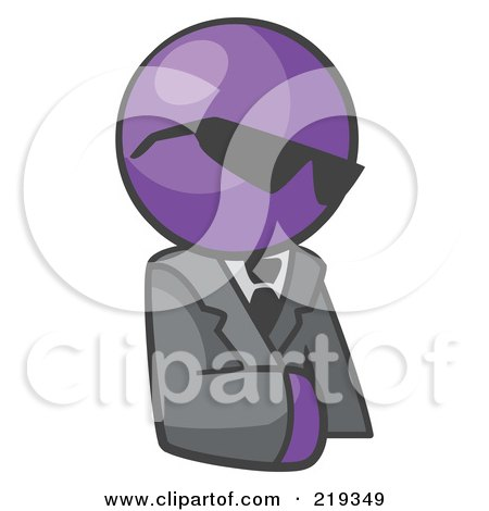 Royalty-Free (RF) Clipart Illustration of a Purple Man Businessman Avatar Wearing Shades by Leo Blanchette
