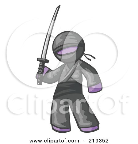 Royalty Free RF Clipart Illustration Of A Purple Man Ninja Holding A Sword