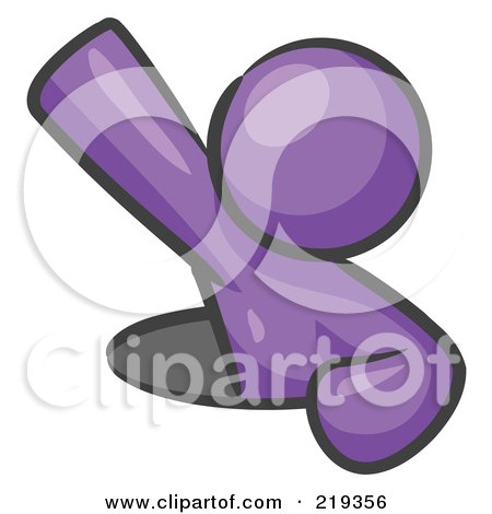 Royalty-Free (RF) Clipart Illustration of a Purple Design Mascot Man Climbing Out Of A Man Hole by Leo Blanchette