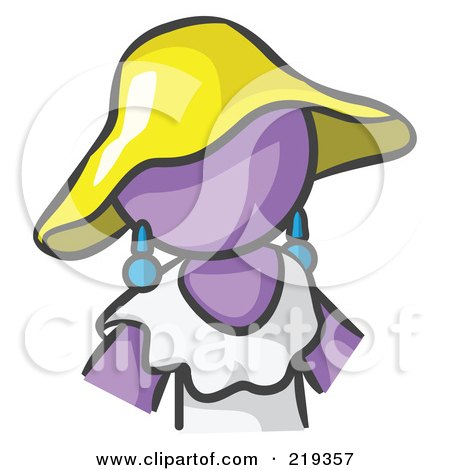 Royalty-Free (RF) Clipart Illustration of a Purple Woman Avatar In A White Dress And Yellow Hat by Leo Blanchette