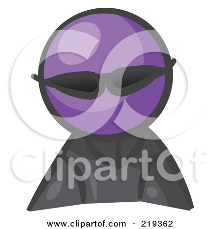 Royalty-Free (RF) Clipart Illustration of a Purple Man Avatar Spy Wearing Shades by Leo Blanchette