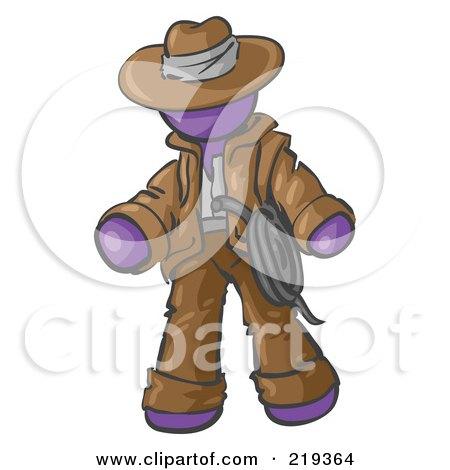 Royalty-Free (RF) Clipart Illustration of a Purple Design Mascot Man Cowboy Adventurer by Leo Blanchette
