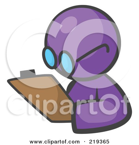 Royalty-Free (RF) Clipart Illustration of a Purple Man Avatar Writing Notes On A Clipboard by Leo Blanchette