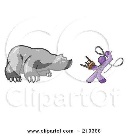 Clipart Illustration of a Purple Man Holding a Stool and Whip While Taming a Bear, Bear Market by Leo Blanchette