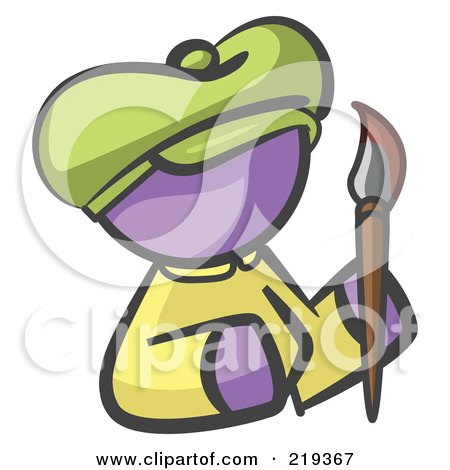 Royalty-Free (RF) Clipart Illustration of a Purple Woman Avatar Artist Holding A Paintbrush by Leo Blanchette