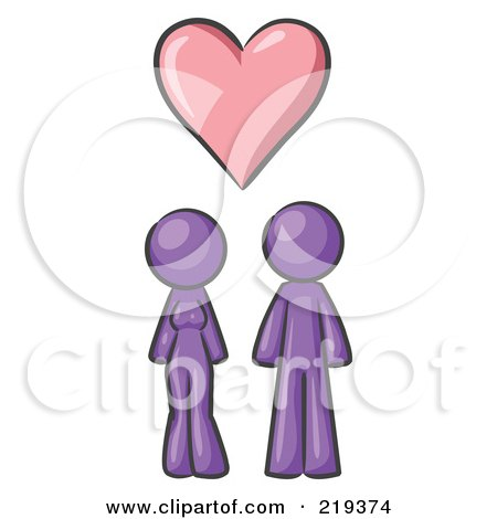 Royalty-Free (RF) Clipart Illustration of a Purple Design Mascot Couple Under A Purple Heart by Leo Blanchette