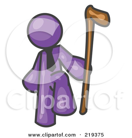 Royalty-Free (RF) Clipart Illustration of a Purple Man Holding a Cane by Leo Blanchette
