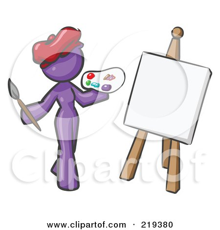 Royalty-Free (RF) Clipart Illustration of a Purple Design Mascot Woman Artist Painting A Portrait by Leo Blanchette