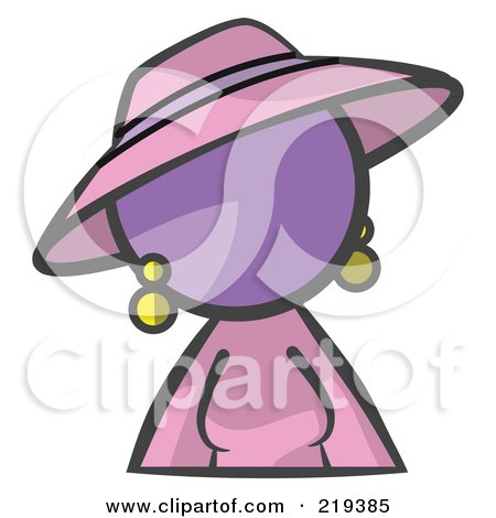 Royalty-Free (RF) Clipart Illustration of a Purple Woman Avatar In A Dress And Hat by Leo Blanchette