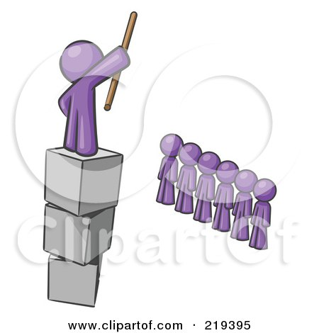 Royalty-Free (RF) Clipart Illustration of a Purple Design Mascot Man Ruling And Punishing Others by Leo Blanchette