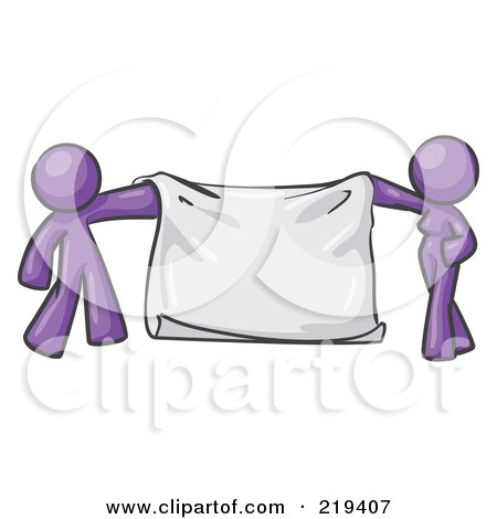 Royalty-Free (RF) Clipart Illustration of a Purple Design Mascot Man And Woman Holding A Blank Banner by Leo Blanchette