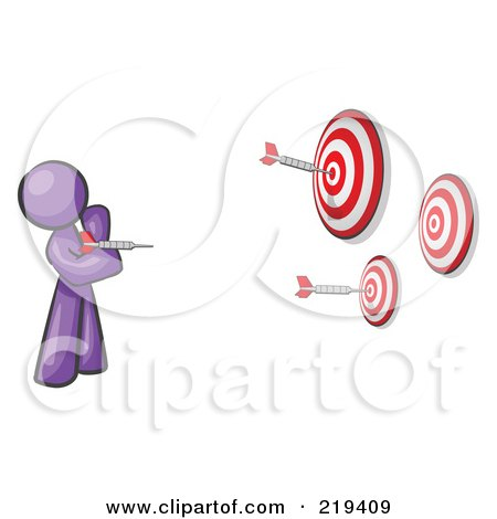 Royalty-Free (RF) Clipart Illustration of a Purple Design Mascot Man Throwing Darts At Targets by Leo Blanchette
