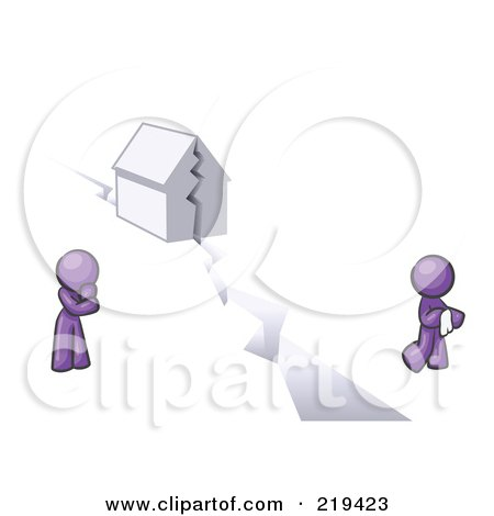 Royalty-Free (RF) Clipart Illustration of a Purple Design Mascot Man And Woman With A House Divided by Leo Blanchette