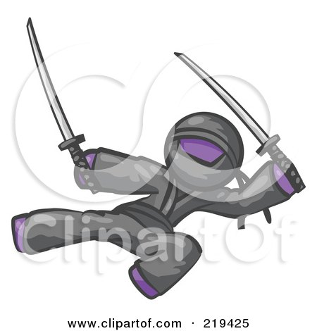 Royalty-Free (RF) Clipart Illustration of a Purple Man Ninja Kicking And Jumping With Swords by Leo Blanchette