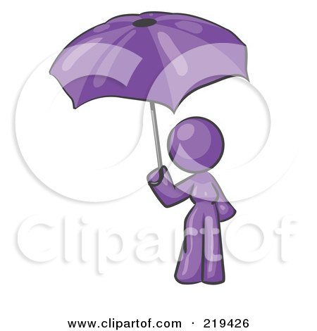 Royalty-Free (RF) Clipart Illustration of a Purple Design Mascot Woman Under An Umbrella by Leo Blanchette