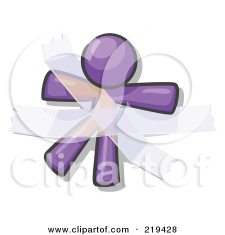 Royalty-Free (RF) Clipart Illustration of a Purple Design Mascot Man Restrained With Tape by Leo Blanchette