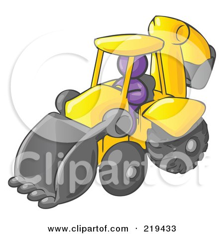 Clipart Illustration of a Purple Man Operating A Yellow Backhoe Machine At A Construction Site by Leo Blanchette