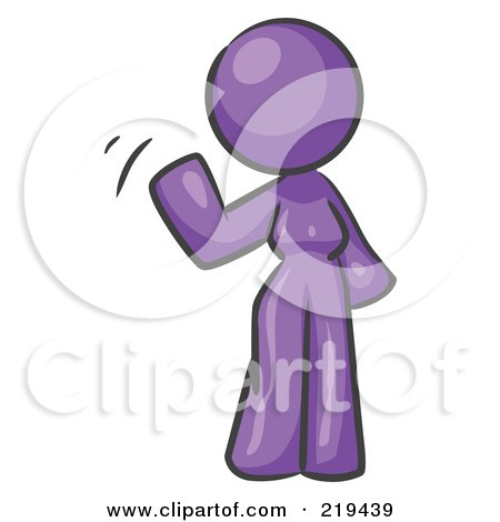 Royalty-Free (RF) Clipart Illustration of a Purple Design Mascot Woman Waving by Leo Blanchette