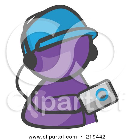 Royalty-Free (RF) Clipart Illustration of a Purple Man Avatar Holding An Mp3 Player by Leo Blanchette