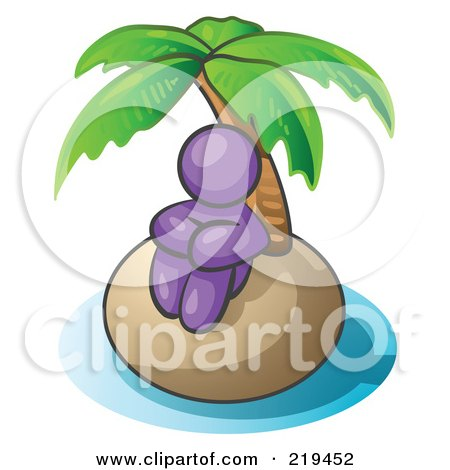 Clipart Illustration of a Purple Man Sitting All Alone With A Palm Tree On A Deserted Island by Leo Blanchette