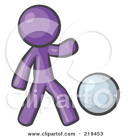 Royalty-Free (RF) Clipart Illustration of a Purple Man Kicking A White Ball by Leo Blanchette