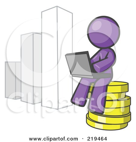 Royalty-Free (RF) Clipart Illustration of a Purple Man Sitting On Coins And Using A Laptop By A Bar Graph by Leo Blanchette