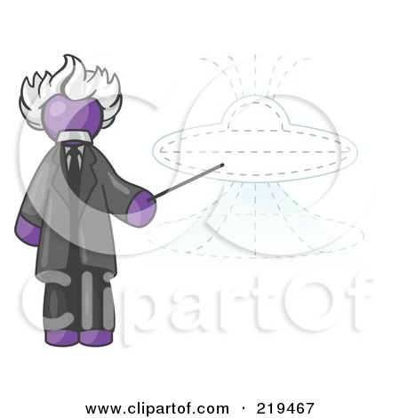Clipart Illustration of a Purple Einstein Man Pointing a Stick at a Presentation of a Flying Saucer by Leo Blanchette