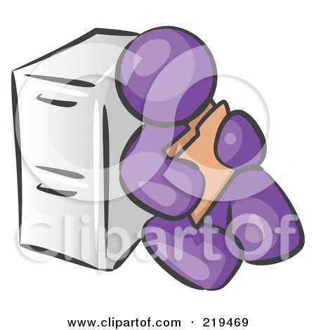 Clipart Illustration of a Purple Man Sitting By A Filing Cabinet And Holding A Folder by Leo Blanchette