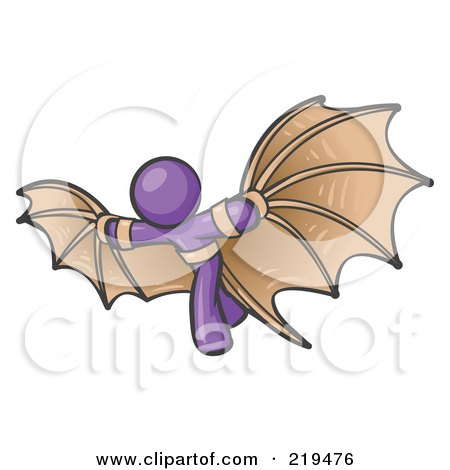 Clipart Illustration of a Determined Purple Man Strapped In Glider Wings, Prepared To Make Flight by Leo Blanchette