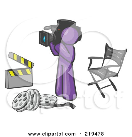 Clipart Illustration of a Purple Man Filming a Movie Scene With a Video Camera in a Studio by Leo Blanchette