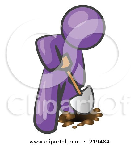 Royalty-Free (RF) Clipart Illustration of a Purple Man Using A Shovel To Dig A Hole For A Plant In A Garden  by Leo Blanchette