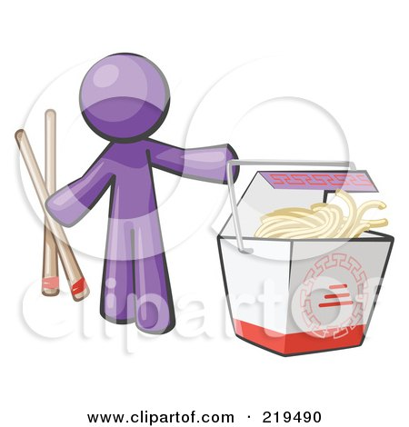 Royalty-Free (RF) Clipart Illustration of a Purple Man Design Mascot Holding Chopsticks By A Chinese Takeout Container by Leo Blanchette
