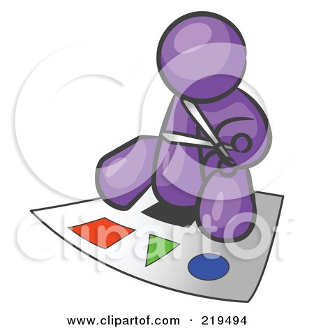 Clipart Illustration of a Purple Man Holding A Pair Of ...