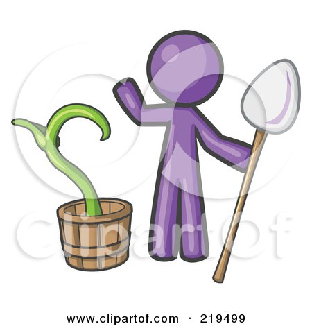 Royalty-Free (RF) Clipart Illustration of a Purple Man Holding A Shovel By A Potted Plant by Leo Blanchette